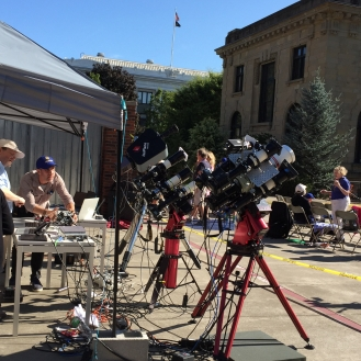 some of the equipment set up to monitor the eclipse